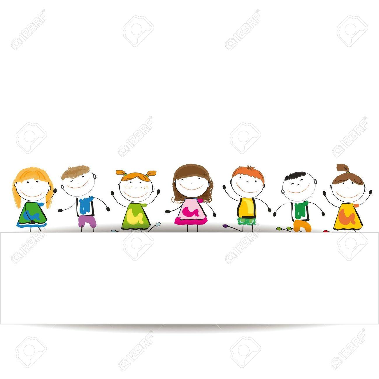 Bambini-piccoli-e-sorriso-con-banner-Archivio-Fotografico